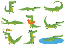 Crocodile Character Vector Set.