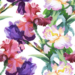 Fototapeta Ogrody Beautiful Watercolor Summer Garden Blooming Flowers Seamless Pattern.