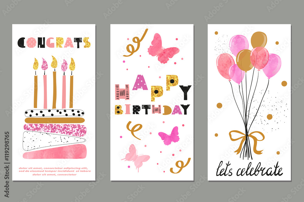 Set Of Watercolor Birthday Greetings Card Design Foto Poster