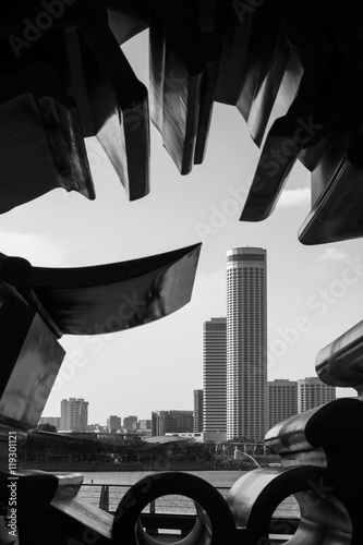 Photo  Buildings Through Hole of Sculpture