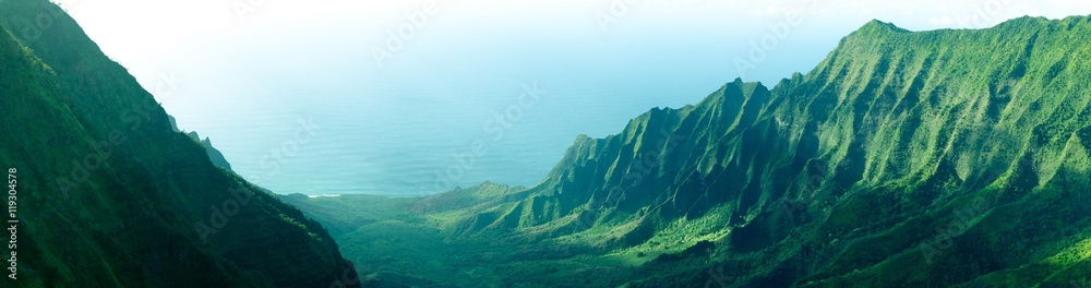 Fototapeta Panorama of the jagged cliffs in Kalalau Valley on the Na Pali Coast, Kauai, Hawaii