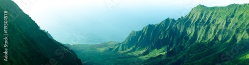 Aluminium Prints Green blue Panorama of the jagged cliffs in Kalalau Valley on the Na Pali Coast, Kauai, Hawaii