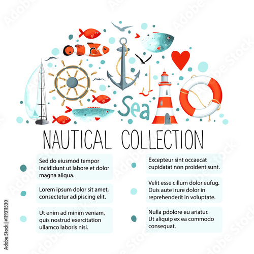 Fototapeta Collection of nautical elements in a semicircle obraz na płótnie
