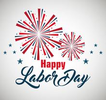 Happy Labor Day Poster Icon Vector Illustration Design