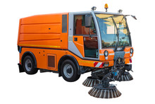 Street Sweeper Machine Isolated With Clipping Path