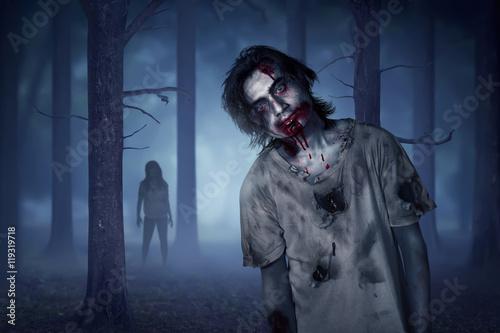 Plakat Azjatycki żywy trup mężczyzna odprowadzenie w mglistym lesie