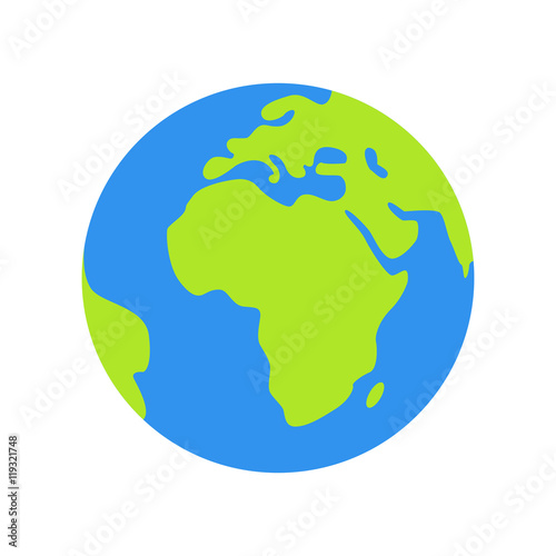 Isolated planet Earth on white background. Simple flat ...