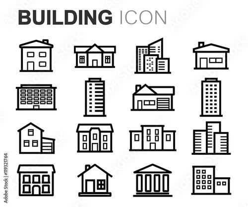 Vector black line building icons set Fototapete