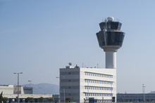 Athens, Greece - August 06 2016: Athens Airport Traffic Control Tower (ATC). Athens International Airport Eleftherios Venizelos Is The 30th Busiest Airport In Europe.