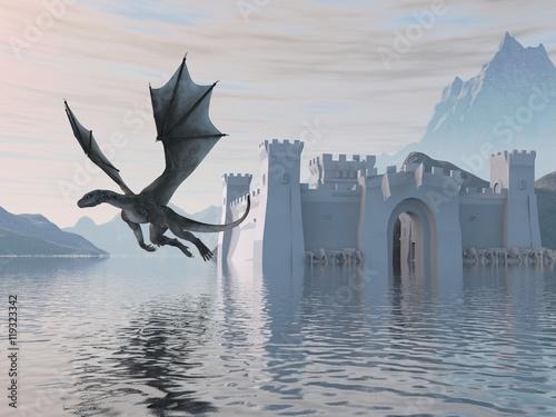 Fototapeta premium 3D Ilustracja Zamek Na Wodzie I Smoka