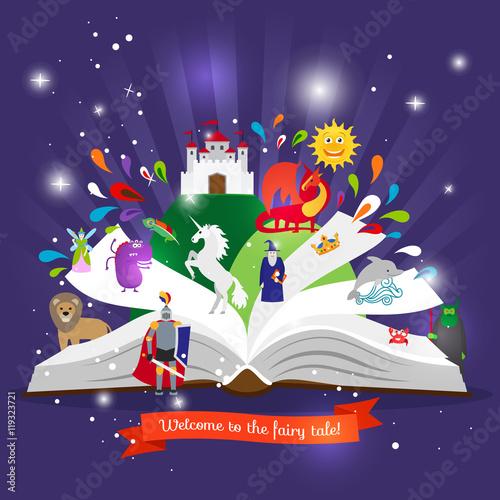 Plakat Bajka książki. Otwarta książka z kreskówek bajek charakterów wektoru ilustracją