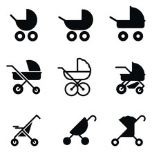 Baby Stroller Vector Icons.