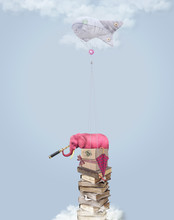 Pink Elephant In The Sky With Books. Illustration.