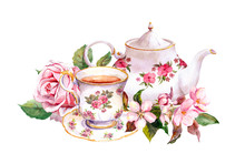 Teacup, Tea Pot With Flowers. ...