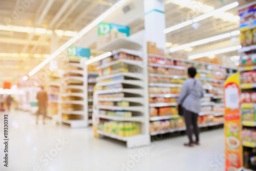 Fotografía  Supermarket interior blur background