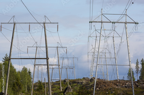New electric power lines before the storm  The forest has