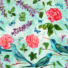 Seamless Pattern With Vintage Flowers And Birds On Teal