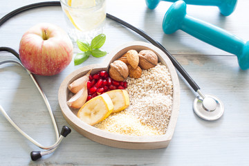 Healthy food in heart and w...