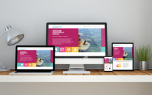 Workplace With Fresh Responsive Website On Devices