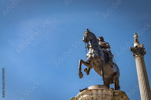 The equestrian statue of Charles I in Charing Cross, London, UK is a work by the French sculptor Hubert Le Sueur, cast around 1633 Canvas Print