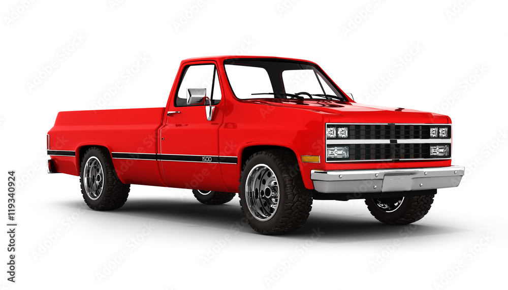 Fototapety, obrazy: Red pickup truck isolated on white 3d