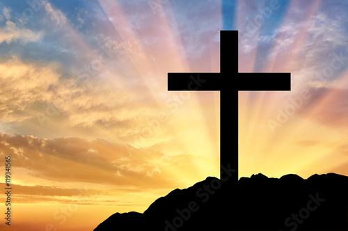 Fotografía  Religion Christianity. Cross silhouette