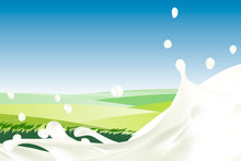 Rural Landscape With Blue Sky And Splash Of Milk. Morning Sun And Dawn. Realistic Cream With Drops Against Green Meadow With Grass. White Yogurt. Idealistic Picture. For Packaging, Branding.