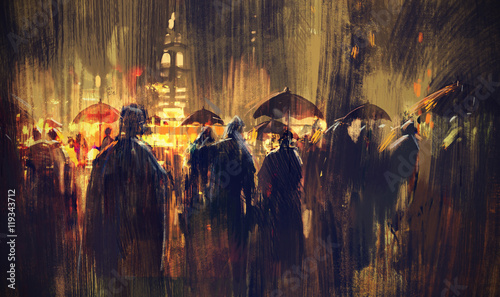 crowd of people with umbrellas at night,illustration painting