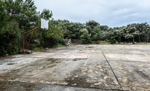 Old Abandoned School Sports Court Or Schoolyard For Different Ac