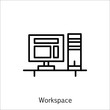 Vector Illustration Of Project Management Icon On Workspace And Pc In Trendy Flat Style. Project Management Isolated Icon For Web, Mobile And Infographics Design, Eps10.