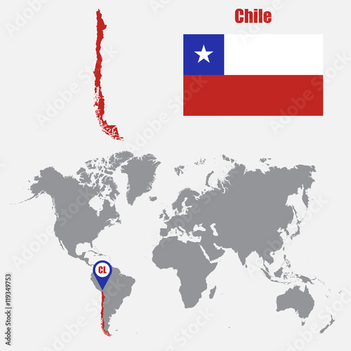 Chile map on a world map with flag and map pointer. Vector ... on