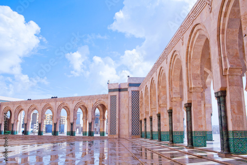 Arcade gallery in Hassan II Mosque in Casablanca, Morocco, Africa.