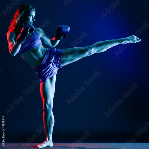 Garden Poster Martial arts woman boxer boxing isolated