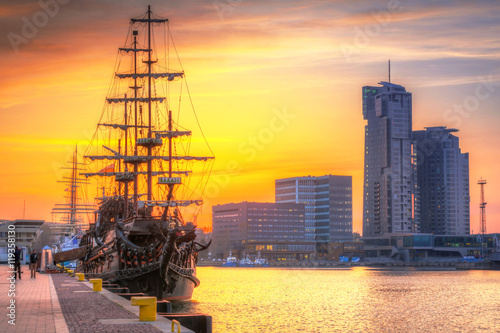 Spoed Foto op Canvas Geel Sunset in Gdynia city at Baltic sea, Poland