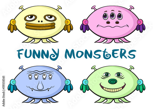 Foto op Canvas Schepselen Set of Funny Colorful Cartoon Characters, Different Monsters, Elements for your Design, Prints and Banners, Isolated on White Background. Vector