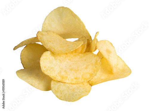 Fotografía  Potato chips handful isolated on white background.