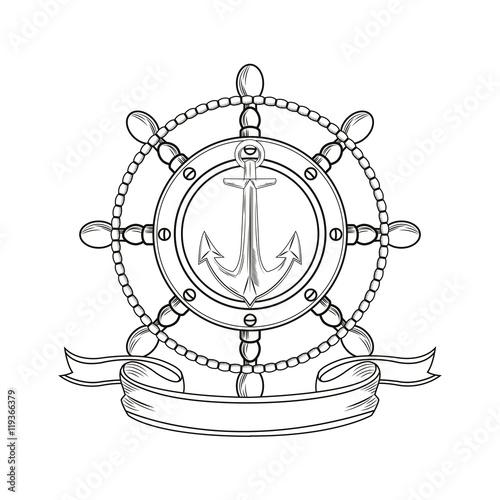 Rudder Anchor Ribbon Cartoon Pirate Tattoo Marine Nautical Icon
