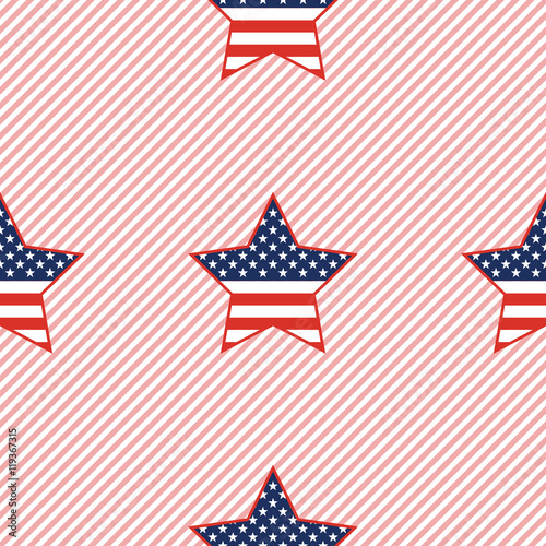 USA patriotic stars seamless pattern on red stripes background. American patriotic wallpaper with USA patriotic stars. Ornament pattern vector illustration.