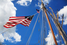 Mast And American Flag