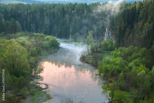 Printed kitchen splashbacks River Aerial view of the forest river