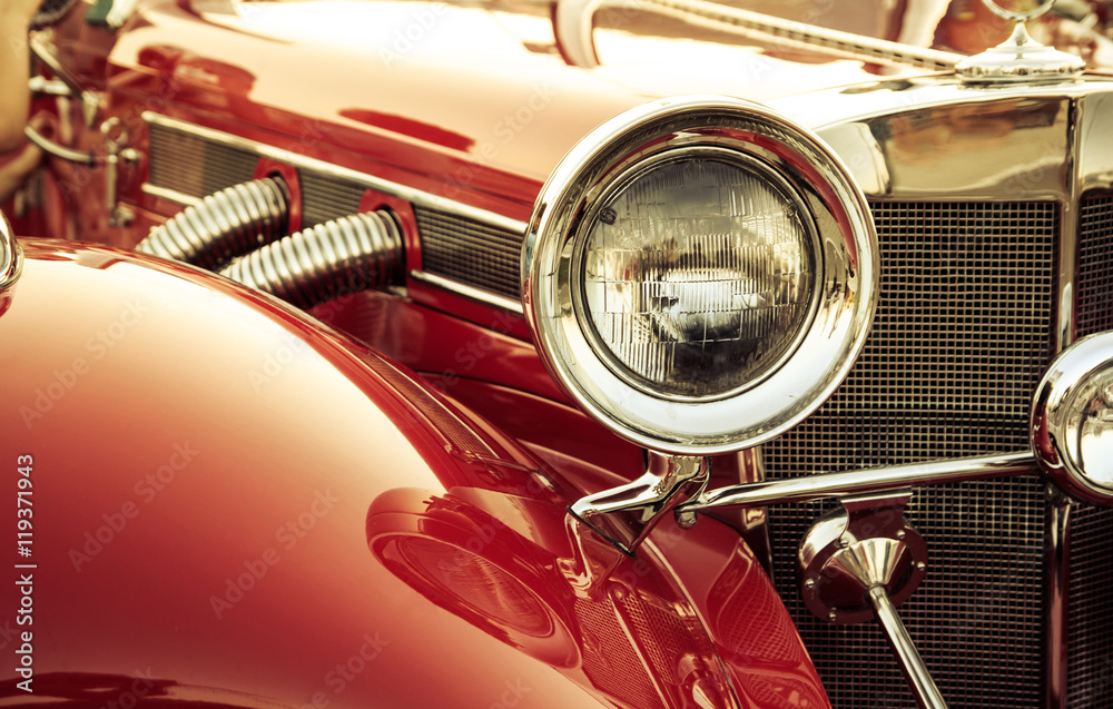 Fototapety, obrazy: Old classic car front detail, oldtimer front lamp