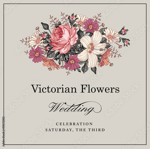 Beautiful Pink White Blooming Realistic Flowers Vintage Greeting