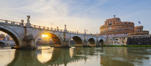 Holy Angel Bridge Over The Tiber River In Rome At Sunset.