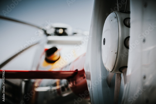 Tuinposter Helicopter Close up detail of helicopter tail rotor.