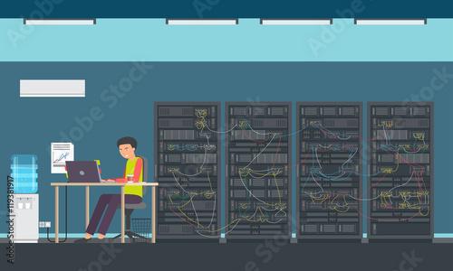 Man Working Data Center