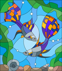 Naklejka Illustration in stained glass style with a pair of guppies on the background of water and algae