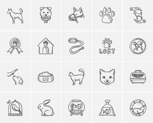 Pets Sketch Icon Set.