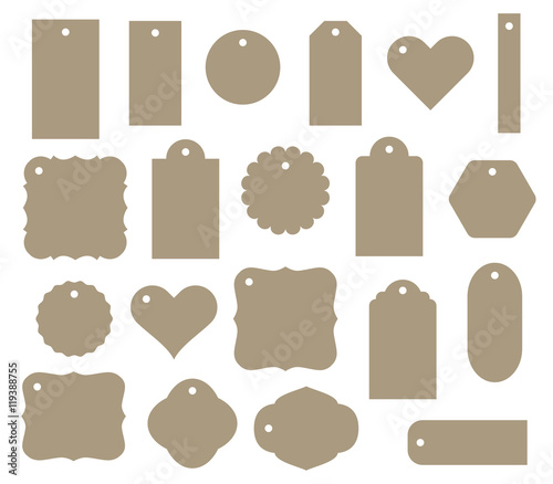 Fotografia  Set of vector gift tag, discount label. Twenty different shapes.