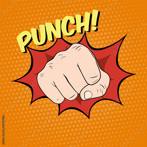 Fotografie, Obraz Fist hitting, fist punching in pop art style. Vector illustratio
