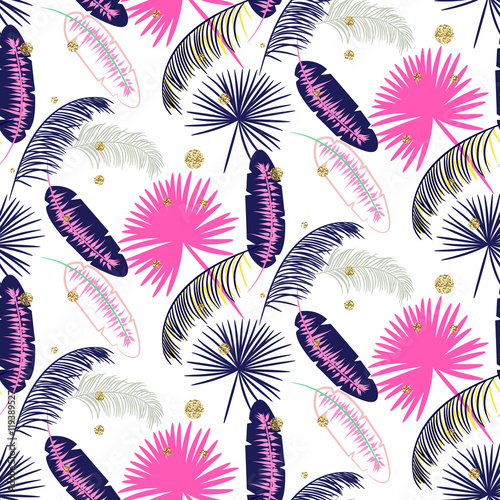 Pink and blue banana palm leaves seamless vector pattern on white background Poster